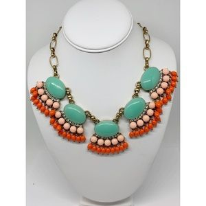 J. Crew Mint Green Coral Peach Clusters Necklace